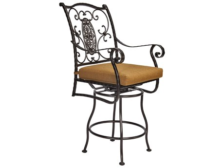 OW Lee San Cristobal Wrought Iron Swivel Counter Stool Arm Chair