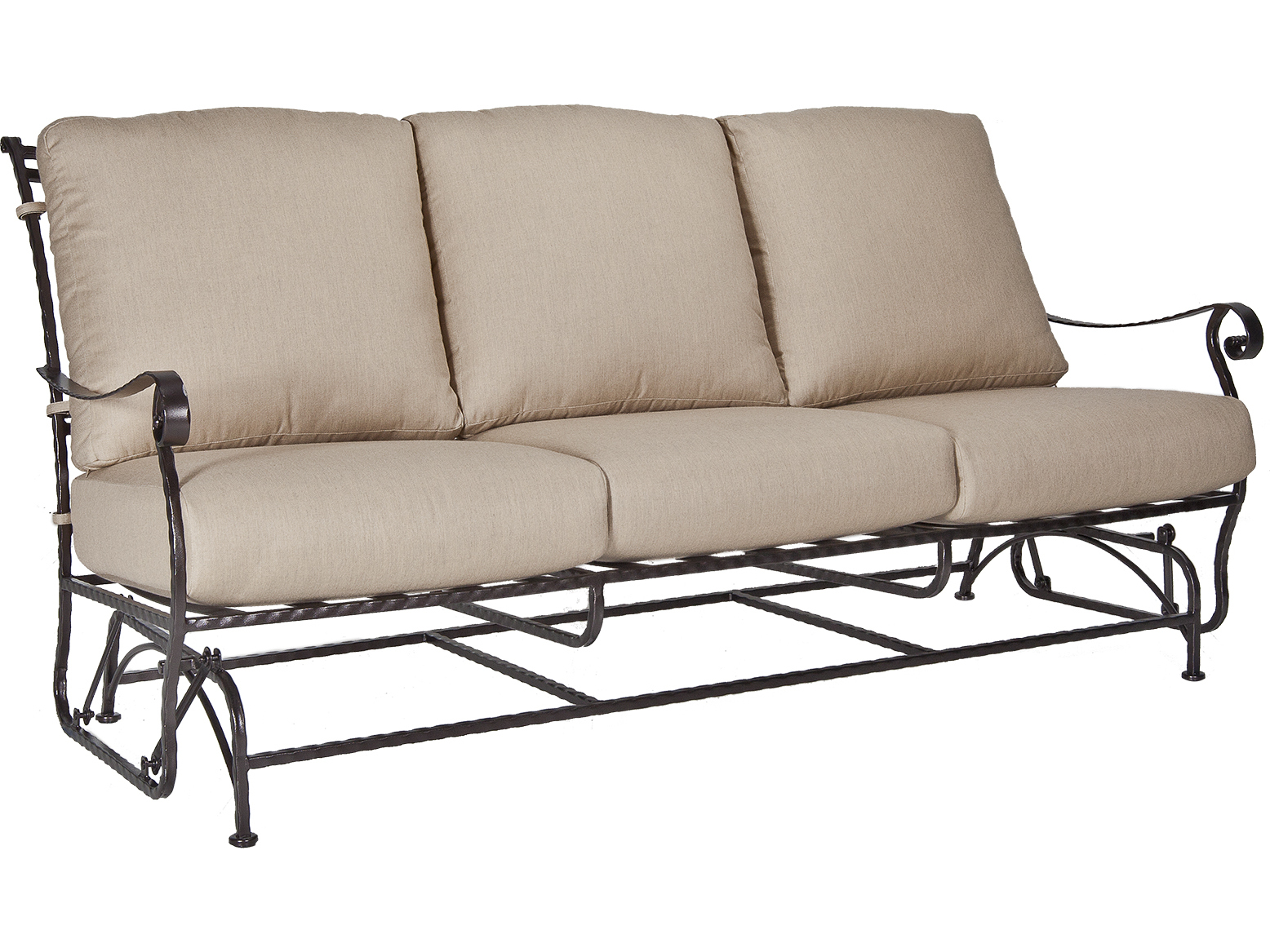 ow lee san cristobal wrought iron three seat sofa glider. Black Bedroom Furniture Sets. Home Design Ideas