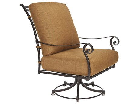 OW Lee San Cristobal Wrought Iron Swivel Rocker Club Chair