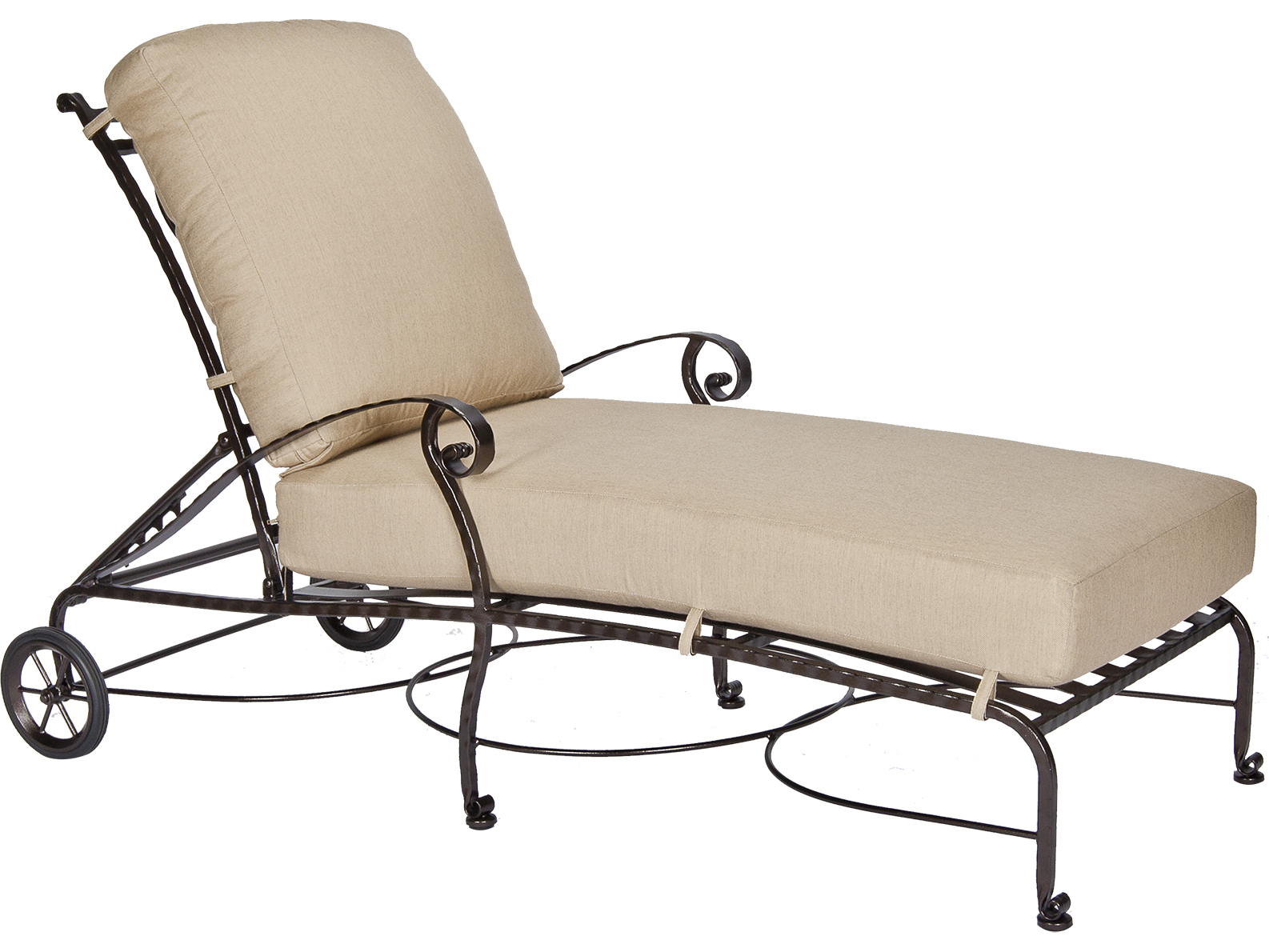 Ow lee san cristobal wrought iron adjustable chaise lounge for Black wrought iron chaise lounge