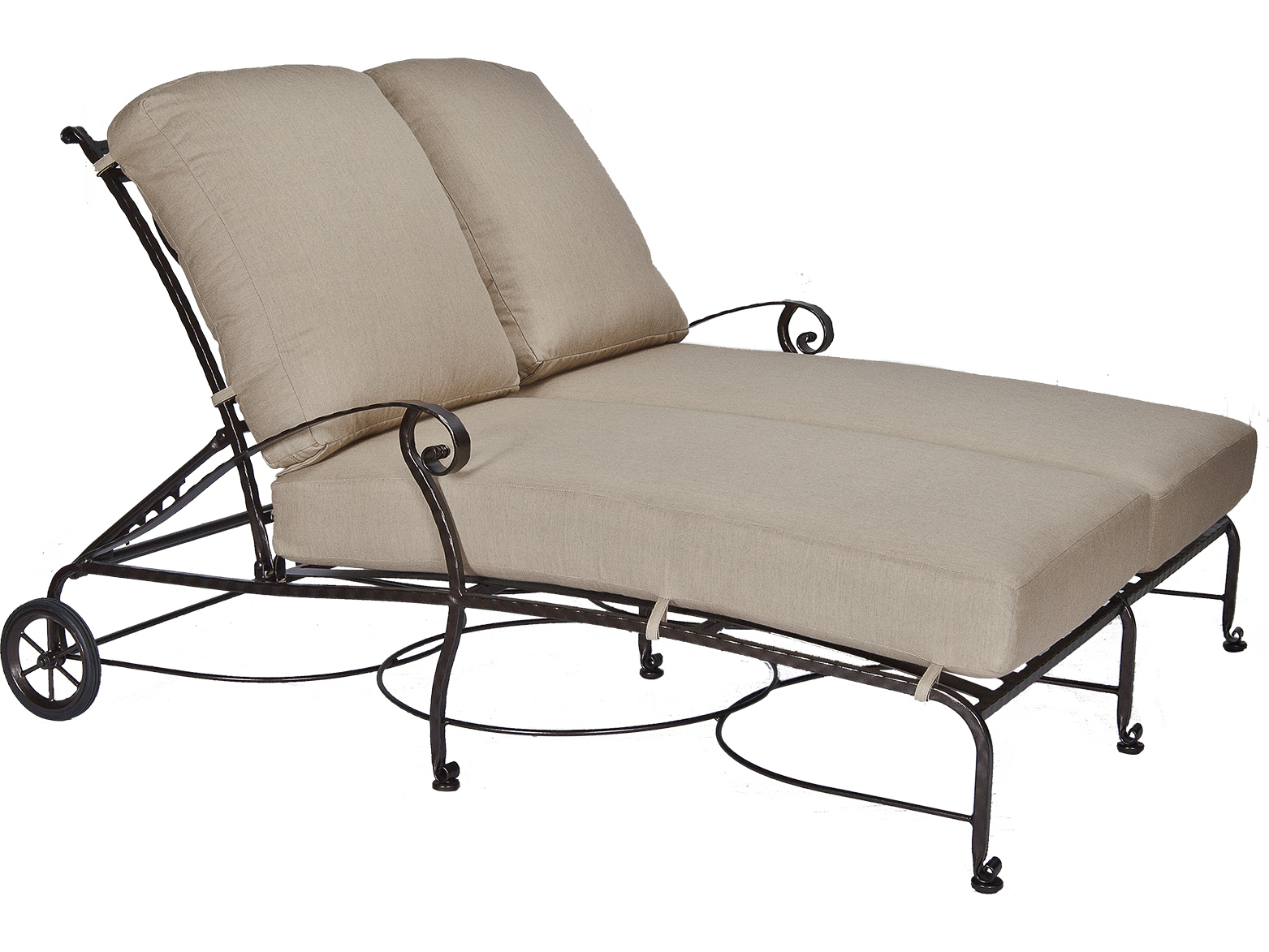 Ow lee san cristobal wrought iron double chaise lounge for Black wrought iron chaise lounge