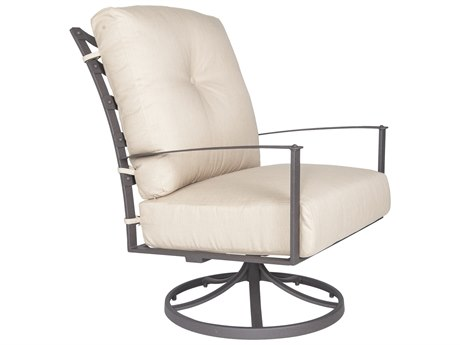 OW Lee Ridgewood Wrought Iron Cushion Swivel Rocker Lounge Chair