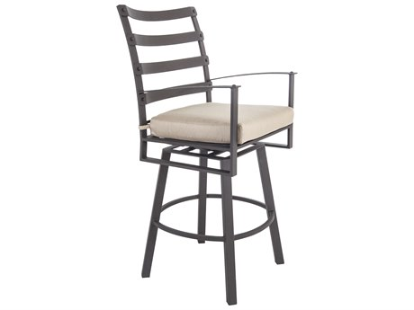 OW Lee Ridgewood Wrought Iron Swivel Bar Stool With Arms