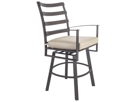OW Lee Ridgewood Wrought Iron Swivel Counter Stool With Arms