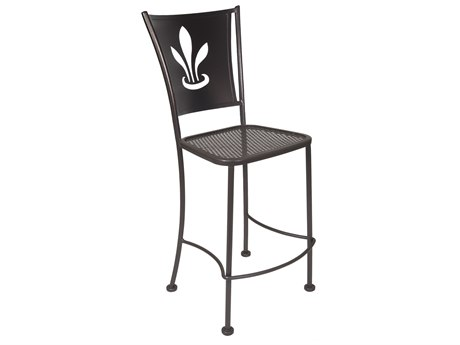 OW Lee Signature Wrought Iron Counter Stool - Custom Lazer Cut Designed Back