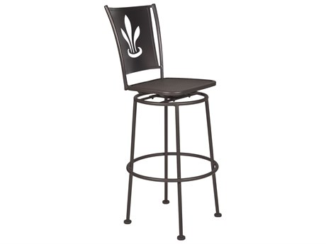 OW Lee Signature Wrought Iron Swivel Bar Stool - Custom Lazer Cut Designed Back