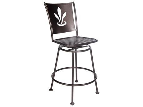 OW Lee Signature Wrought Iron Swivel Counter Stool - Custom Lazer Cut Designed Back