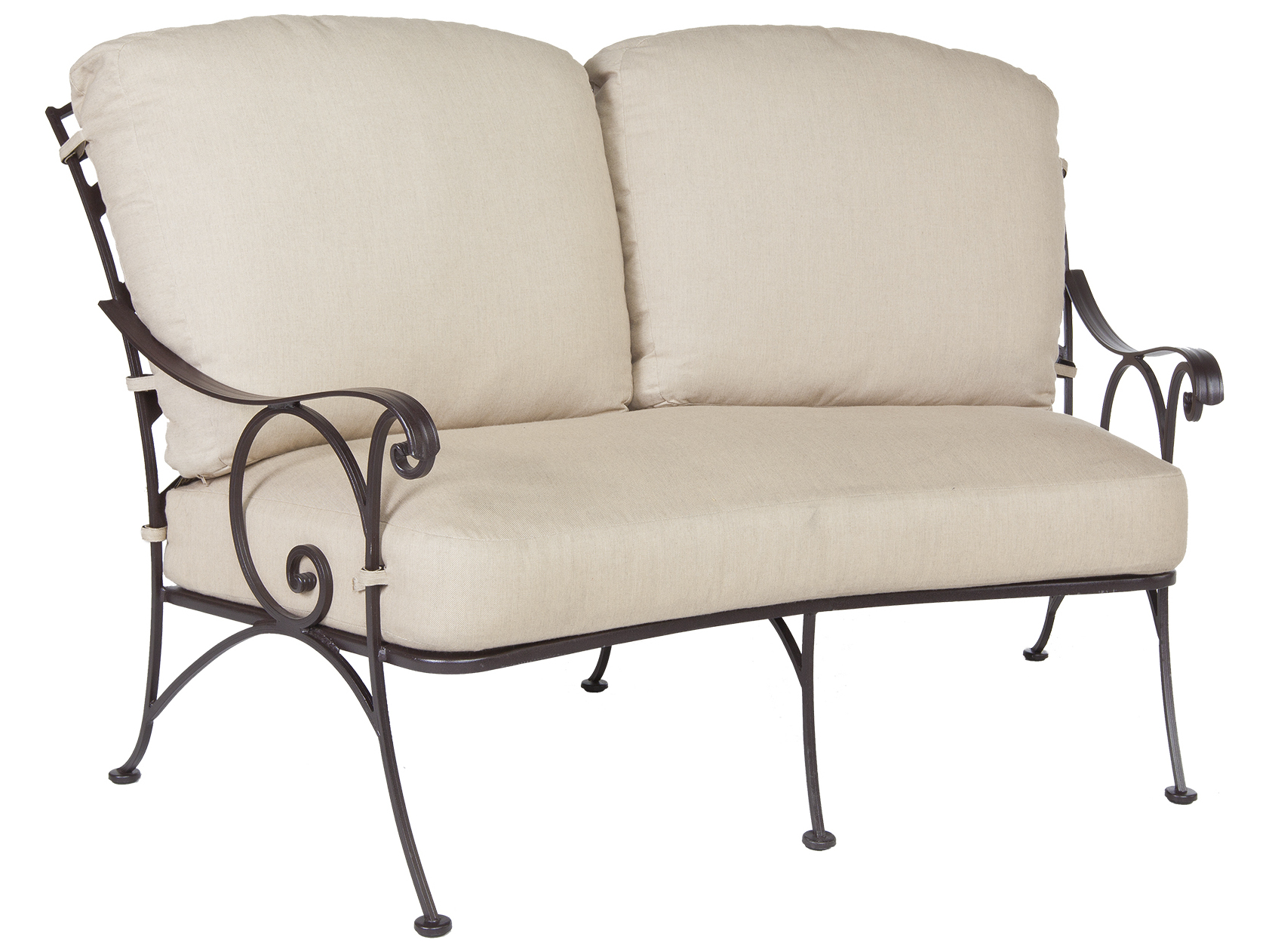 Ow Lee Siena Wrought Iron Crescent Loveseat 8262 2s