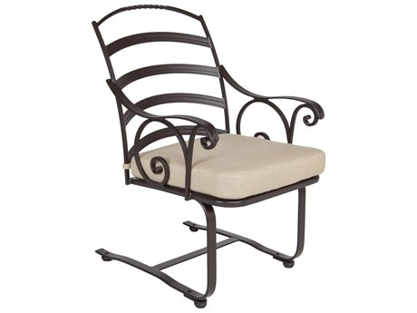 OW Lee Siena Wrought Iron Spring Base Dining Arm Chair