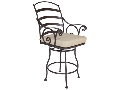 OW Lee Siena Wrought Iron Swivel Counter Stool With Arms