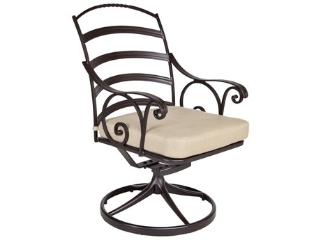 OW Lee Siena Wrought Iron Swivel Rocker Dining Arm Chair