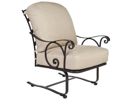 OW Lee Siena Wrought Iron Spring Base Lounge Chair