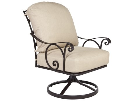 OW Lee Siena Wrought Iron Swivel Rocker Lounge Chair