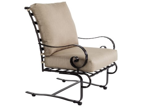 OW Lee Classico Wide Arms Wrought Iron Spring Lounge Chair