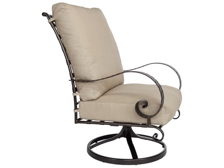 OW Lee Classico Wide Arms Wrought Iron Hi-Back Swivel Rocker Lounge Chair