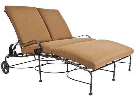 OW Lee Classico Wide Arms Wrought Iron Adjustable Double Chaise