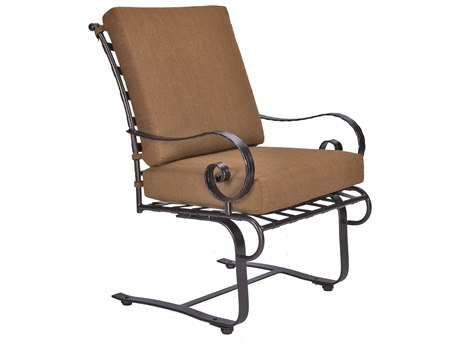 OW Lee Classico-Wide Arms Wrought Iron Club Dining Spring Base Chair