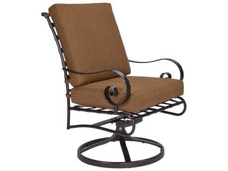 OW Lee Classico-Wide Arms Wrought Iron Club Dining Swivel Rocker