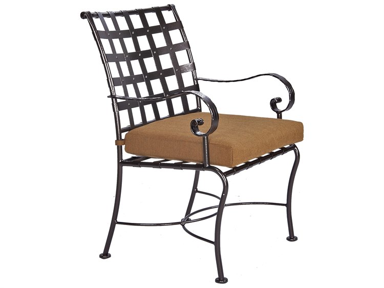 OW Lee Classico-Wide Arms Wrought Iron Dining Chair PatioLiving