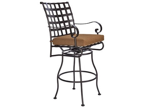 OW Lee Classico-Wide Arms Wrought Iron Swivel Bar Stool PatioLiving