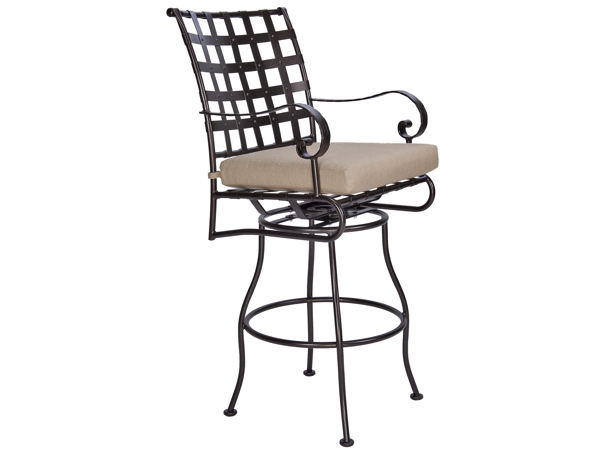 OW Lee Classico Wide Arms Wrought Iron Swivel Bar Stool  : OW953SBSW2zm from www.patioliving.com size 2086 x 1565 jpeg 121kB