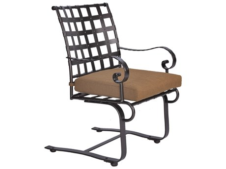 OW Lee Classico-Wide Arms Wrought Iron Spring Base Dining Chair