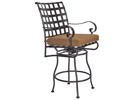 OW Lee Classico-Wide Arms Wrought Iron Swivel Counter Stool