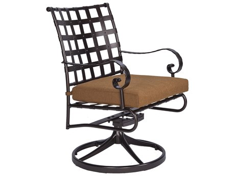 OW Lee Classico-Wide Arms Wrought Iron Swivel Rocker Dining Chair