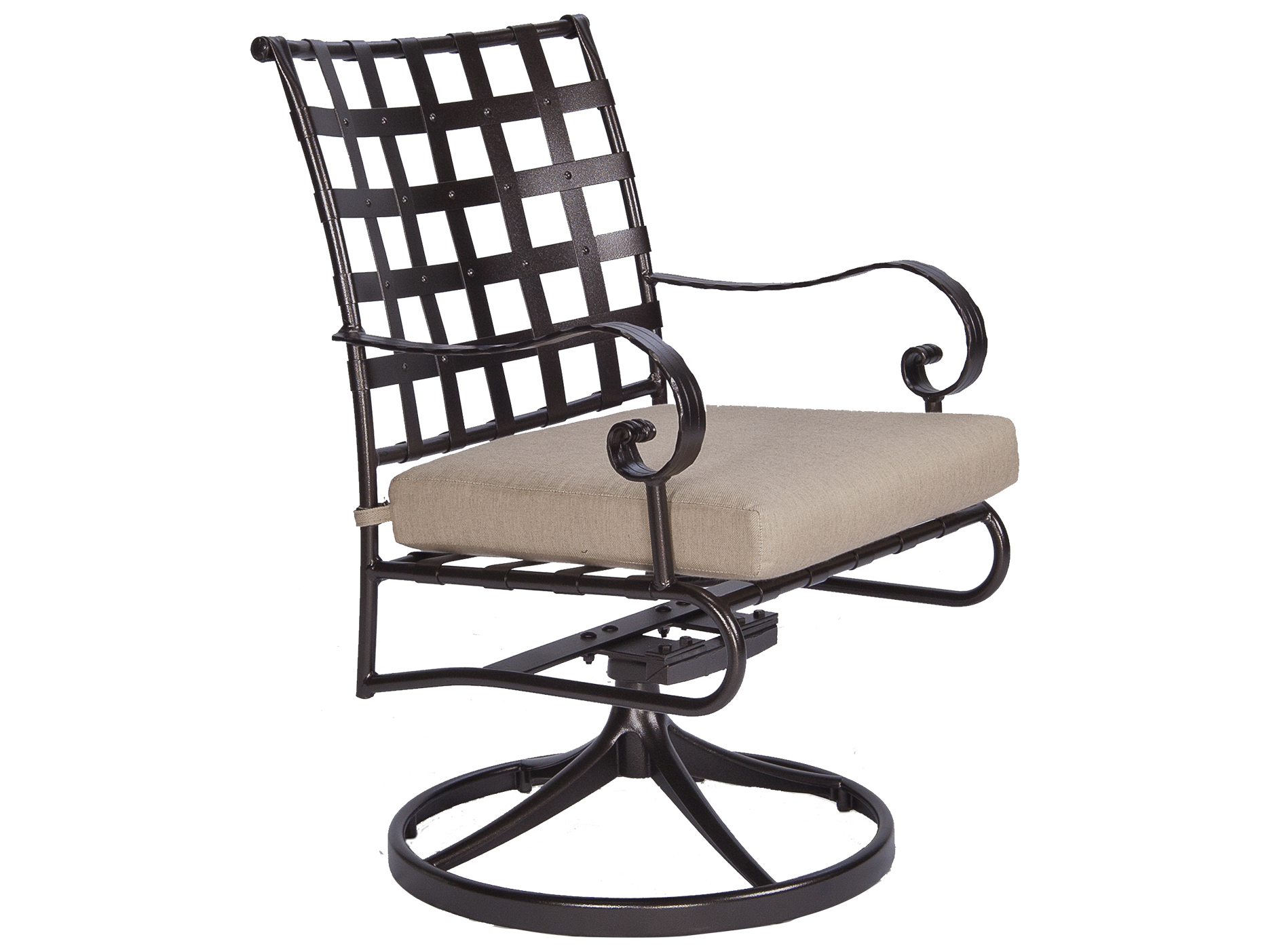 ... Classico-Wide Arms Wrought Iron Swivel Rocker Dining Chair  953-SRW