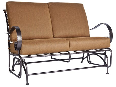 OW Lee Classico Wide Arms Wrought Iron Loveseat Glider PatioLiving