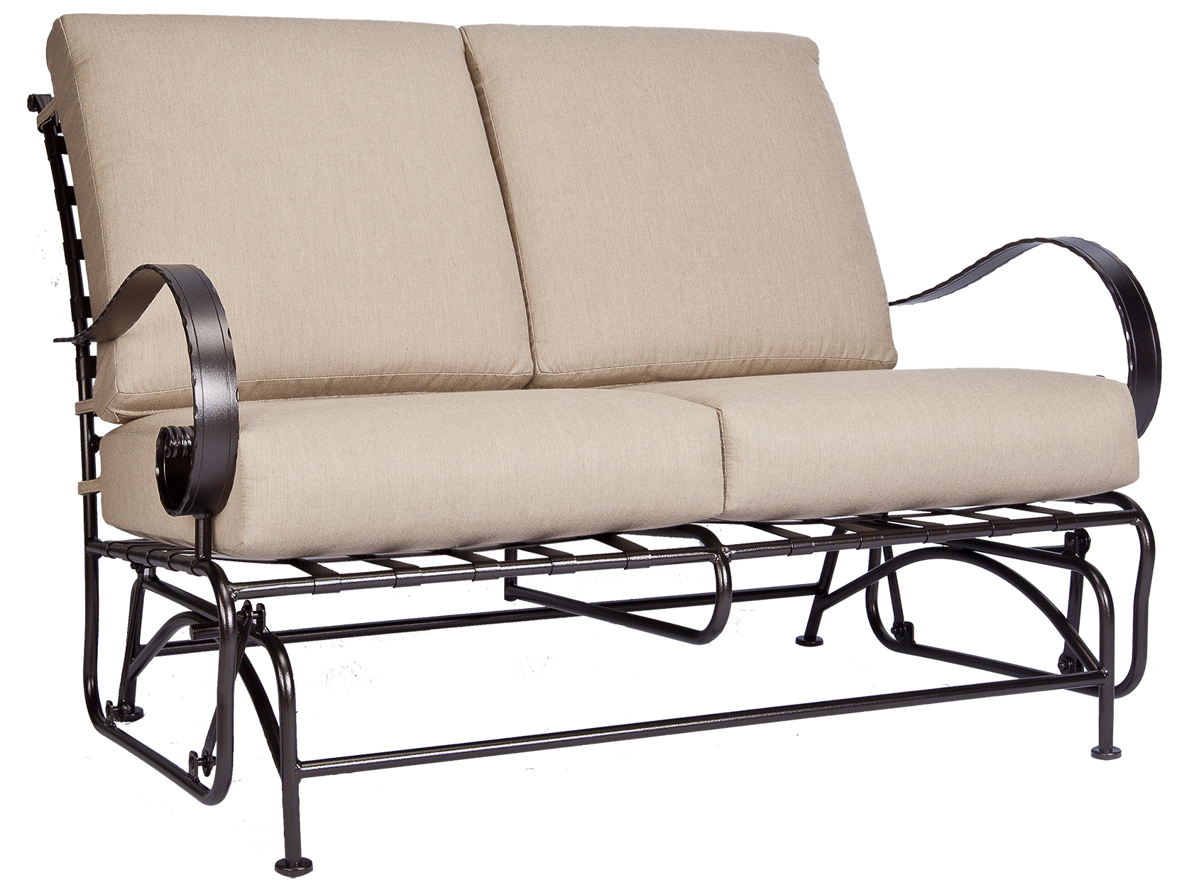 Ow Lee Classico Wide Arms Wrought Iron Loveseat Glider