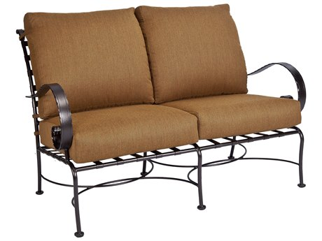 OW Lee Classico Wide Arms Wrought Iron Loveseat PatioLiving