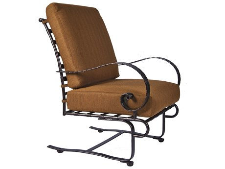 OW Lee Classico Wide Arms Wrought Iron Spring Base Lounge Chair