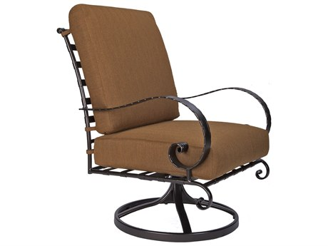 OW Lee Classico Wide Arms Wrought Iron Swivel Rocker Lounge Chair