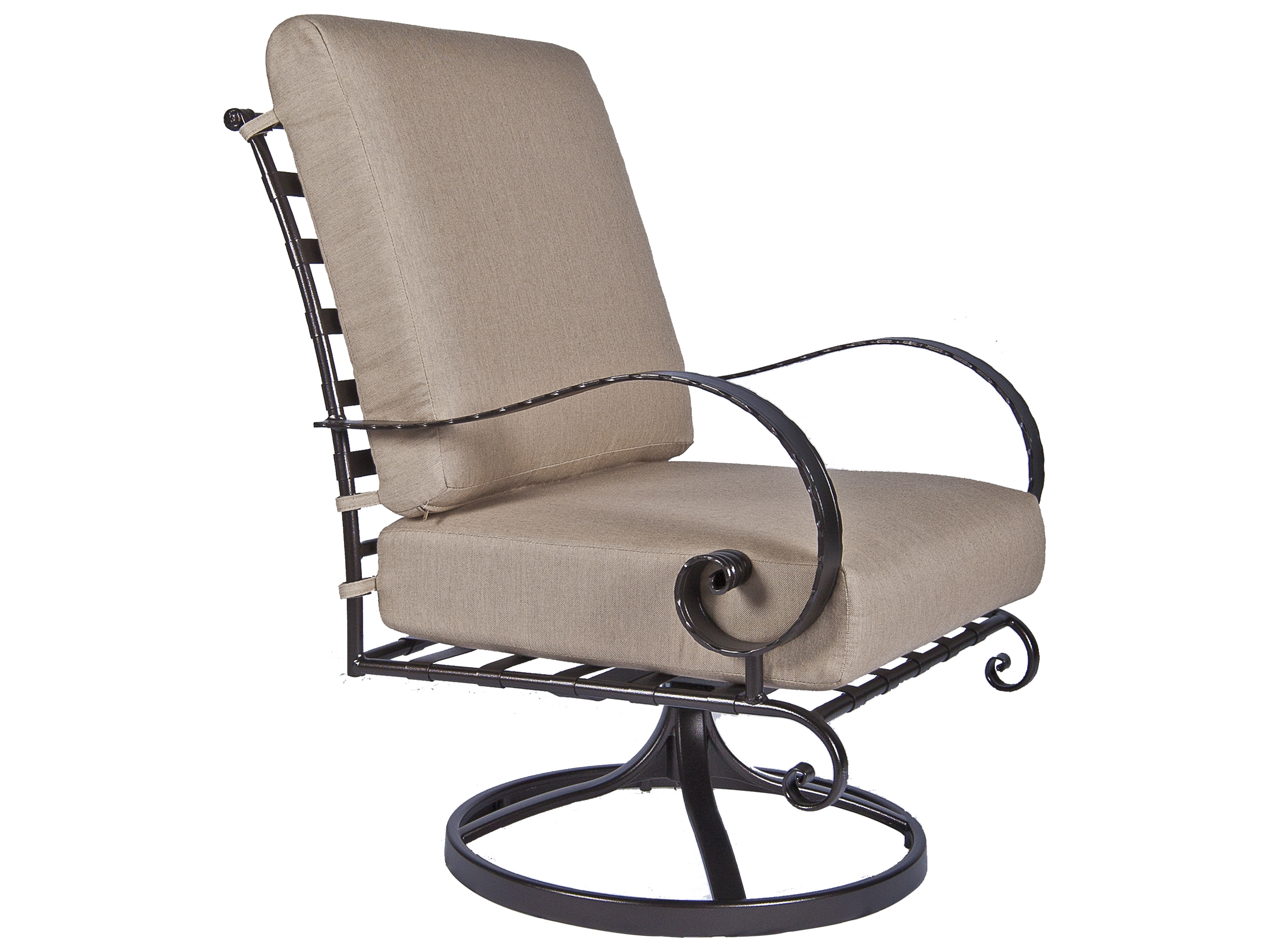 Ow Lee Classico Wide Arms Wrought Iron Swivel Rocker
