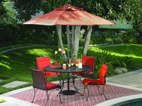 OW Lee Avalon Wrought Iron Dining Set for 4 with Umbrella