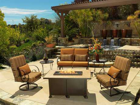 OW Lee Avalon Wrought Iron Firepit Lounge Set