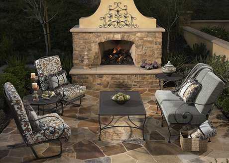 OW Lee Avalon Wrought Iron Fire Pit Lounge Set