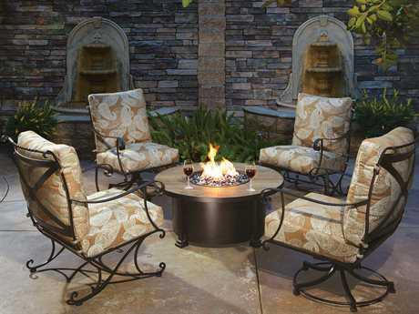 OW Lee Bellini Wrought Iron Firepit Lounge Set