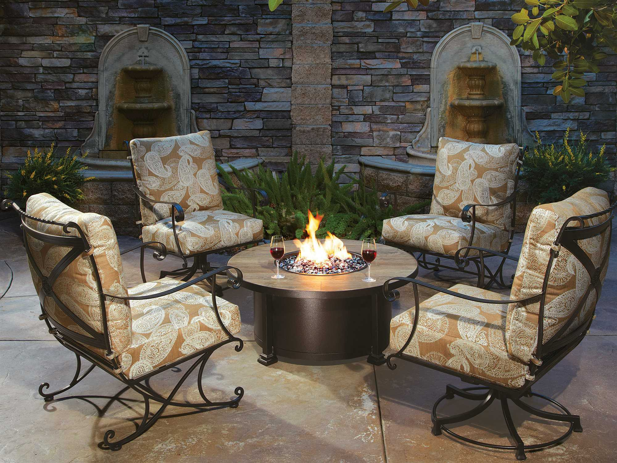 Ow Lee Casual Fireside Santorini Wrought Iron 42 Round
