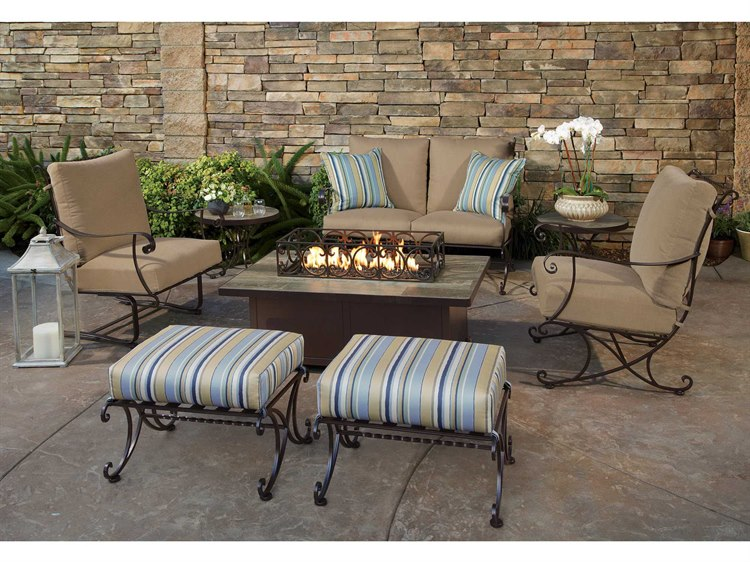OW Lee Bellini Wrought Iron Fire Pit Lounge Set