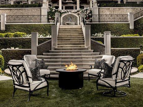 OW Lee Belle Vie Aluminum Fire Pit Lounge Set