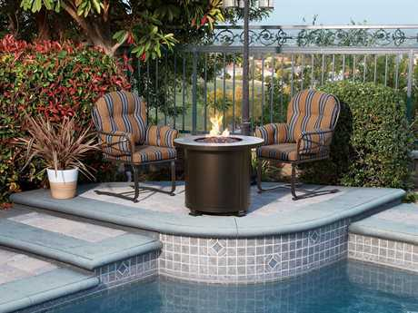 OW Lee Cambria Wrought Iron Fire Pit Lounge Set