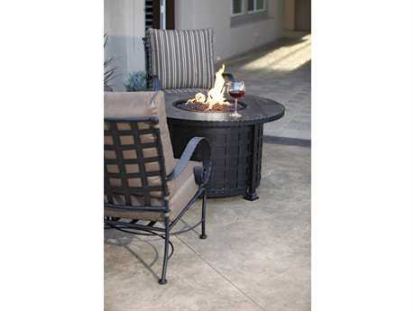 OW Lee Classico Wide Arms Wrought Iron Firepit Lounge Set