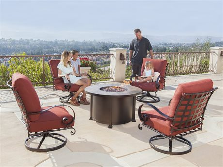 OW Lee Classico Wide Arms Wrought Iron Fire Pit Lounge Set PatioLiving