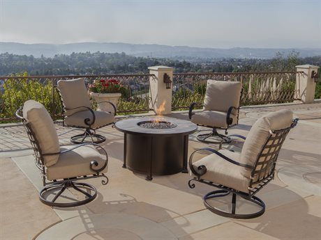 OW Lee Classico Wide Arms Wrought Iron Fire Pit Lounge Set