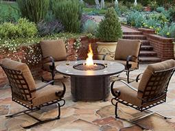 Classico Wide Arms Wrought Iron Fire Pit Lounge Set