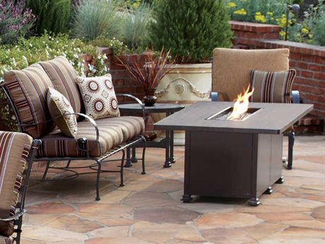OW Lee Classico-Wide Arms Wrought Iron Fire Pit Lounge Set