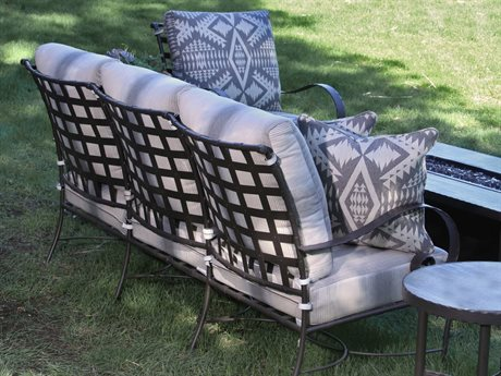 OW Lee Classico W Pedalton Wrought Iron Fire Pit Lounge Set