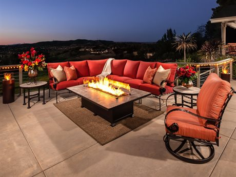 OW Lee Classico Wide Arms Wrought Iron Sectional Fire Pit Lounge Set